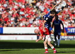 Ivan Sunjic of Birmingham City climbs all over Jonathan Williams of Charlton Athletic to win a header - Mandatory by-line: Arron Gent/JMP - 14/09/2019 - FOOTBALL - The Valley - Charlton, London, England - Charlton Athletic v Birmingham City - Sky Bet Championship