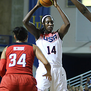 United States Center Tina Charles (14) attempts to pass the ball in the first half of a USA Women's National Team Exhibition game between Red and White Thursday, Sept. 11, 2014 at The Bob Carpenter Sports Convocation Center in Newark, DEL