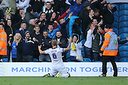Leeds United defender Liam Cooper (6) scores to make it 1-1 during the Sky Bet Championship match between Leeds United and Brighton and Hove Albion at Elland Road, Leeds, England on 17 October 2015.