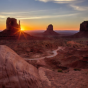 The Mittens (East & West) along with Merrick Butte at Monument Valley Navajo Tribal Park, UT