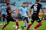 Sydney FC midfielder Milos Ninkovic (10) gets the ball away at the Hyundai A-League Round 8 soccer match between Western Sydney Wanderers FC and Sydney FC at ANZ Stadium in NSW, Australia