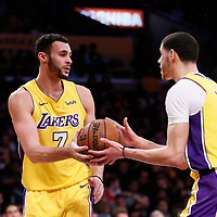 09 January 2018: Los Angeles Lakers forward Larry Nance Jr. (7) passes the ball to Los Angeles Lakers guard Lonzo Ball (2) during the LA Lakers 99-86 victory over the Sacramento Kings, at the Staples Center, Los Angeles, California, USA.