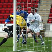 St Johnstone v Falkirk...03.04.04<br />Allan Ferguson is beaten as Chris Hay equalises for St Johnstone<br /><br />Picture by Graeme Hart.<br />Copyright Perthshire Picture Agency<br />Tel: 01738 623350  Mobile: 07990 594431