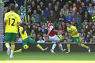Picture by Paul Chesterton/Focus Images Ltd.  07904 640267.19/11/11.Leon Barnett of Norwich blocks a shot from Arsenal's Robin Van Persie during the Barclays Premier League match at Carrow Road stadium, Norwich.