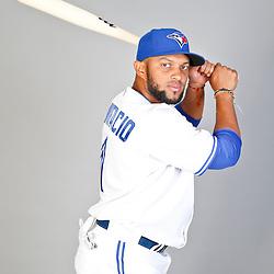 Feb 18, 2013; Dunedin, FL, USA; Toronto Blue Jays infielder Emilio Bonifacio (1) during photo day at Florida Auto Exchange Ballpark. Mandatory Credit: Derick E. Hingle-USA TODAY Sports