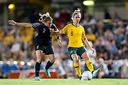 Ria Percival in defence with Elise Kellond-Knight in possession during the Cup of Nations Women's Football match, New Zealand Football Ferns v Matildas, Leichhardt Oval, Thursday 28th Feb 2019. Copyright Photo: David Neilson / www.photosport.nz