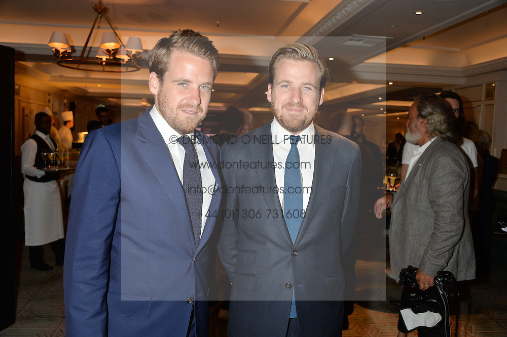 Left to right, brothers EDWARD LAWSON-JOHNSTON and HARRY LAWSON-JOHNSTON at a the Fortnum's X Frank private view - an instore exhibition of over 60 works from Frank Cohen's collection at Fortnum & Mason, 181 Piccadilly, London on 12th September 2016.