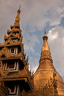 Sunset in the Shwedagon Pagoda, the Golden Pagoda is the most sacret pagoda in Myanmar, Yangon, Burma.<br />