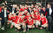 THE LIONS CAPTAIN MARTIN JOHNSON CELEBRATES WINNING THE SERIES 2-1WITH HIS TEAMATES.SOUTH AFRICA V LIONS, 3RD TEST, ELLIS PARK, JOHANNESBURG, SOUTH AFRICA, 2ND JULY 1997