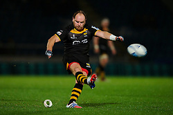 Wasps Fly-Half (#10) Andy Goode  kicks a Penalty during the second half of the match - Photo mandatory by-line: Rogan Thomson/JMP - Tel: 07966 386802 - 17/10/2013 - SPORT - RUGBY UNION - Adams Park Stadium, High Wycombe - London Wasps v Bayonne - Amlin Challenge Cup Round 2.