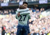 Football - 2018 / 2019 Premier League - Tottenham Hotspur vs. Huddersfield Town<br /> <br /> Heung-Min Son (Tottenham FC)  congratulates goal scorer Lucas Moura (Tottenham FC) at The Tottenham Hotspur Stadium.<br /> <br /> COLORSPORT/DANIEL BEARHAM
