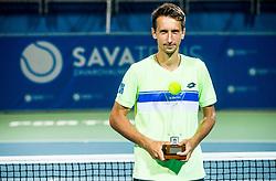 Winner Sergiy Stakhovsky (UKR) posing after Trophy ceremony after the Final match of ATP Challenger Zavarovalnica Sava Slovenia Open 2017, on August 12, 2017 in Sports centre, Portoroz/Portorose, Slovenia. Photo by Vid Ponikvar / Sportida