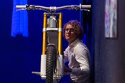 "© Licensed to London News Pictures. 11/09/2018. LONDON, UK. Karl Ytterborn, founder of CAKE, poses with the ""Kalk electric motorbike"", designed by CAKE, at a preview of the 87 nominees for the eleventh Beazley Designs of the Year exhibition and awards at the Design Museum in Kensington.  The off-road motorbike weighs under 70 kg and can be recharged using solar panels. The exhibition runs 12 September to 6 January 2019 and celebrates the most innovative designs of the last year.  Photo credit: Stephen Chung/LNP"