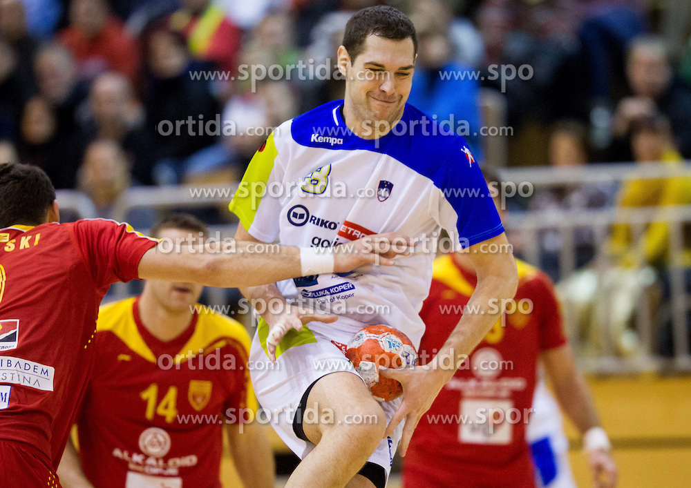 Nenad Bilbija of Slovenia during friendly handball match between National Teams of Slovenia and F.Y.R. of Macedonia on December 28, 2013 in Sports hall Polaj, Trbovlje, Slovenia. Photo by Vid Ponikvar / Sportida
