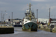 22 July 2003..Ship leaves Hull Fish Docks...Picture: Sean Spencer/Hull News & Pictures.01482 210267/07976 433960