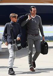 BASEL, SWITZERLAND - MAY 17: Sevilla's head coach Unai Emery arrives at Basel Airport ahead of the UEFA Europa League Final against Liverpool. (Pic by UEFA/Pool/Propaganda)