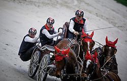 Ulrich Werner, (SUI), Acco Vom Allmen, Cardiuweel du Premo, Incitato Galans, Mikado N <br /> FEI World Cup Driving <br /> Genève 2015<br /> © Hippo Foto - Dirk Caremans<br /> 13/12/15