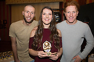 Jessica Dailly, Monifieth Ladies under 15s manager's player of the year pictured with Dundee United's Lewis Toshney and Simon Murray at Monifieth Ladies presentation evening at the Panmure Hotel, Monifieth - Photo: David Young, <br /> <br />  - &copy; David Young - www.davidyoungphoto.co.uk - email: davidyoungphoto@gmail.com
