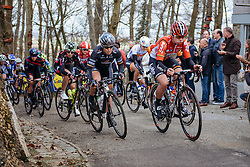 Chloe Hosking (Wiggle Hi5) and Lotte Kopecky (Lotto Soudal) on Baneberg - Women's Gent Wevelgem 2016, a 115km UCI Women's WorldTour road race from Ieper to Wevelgem, on March 27th, 2016 in Flanders, Belgium.