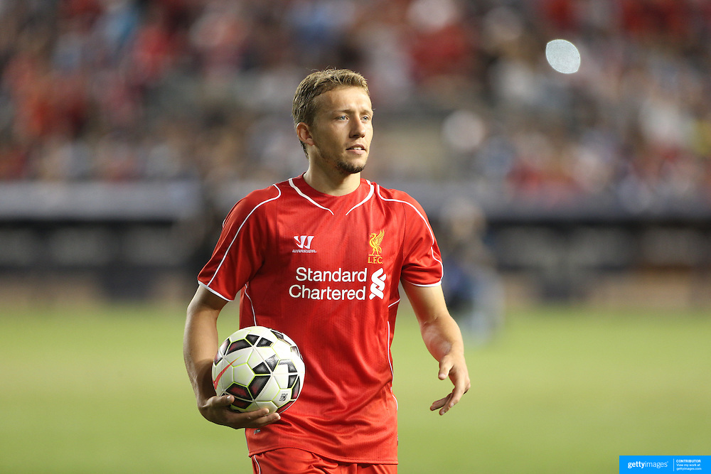 Lucas Leiva, Liverpool, steps up to take the decisive penalty during the Manchester City Vs Liverpool FC Guinness International Champions Cup match at Yankee Stadium, The Bronx, New York, USA. 30th July 2014. Photo Tim Clayton