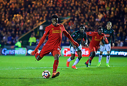 PLYMOUTH, ENGLAND - Wednesday, January 18, 2017: Liverpool's Divock Origi sees his penalty kick saved against Plymouth Argyle during the FA Cup 3rd Round Replay match at Home Park. (Pic by David Rawcliffe/Propaganda)