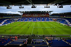CARDIFF, WALES - Thursday, September 6, 2018: Wales and Republic of Ireland players during the pre-match warm-up before the UEFA Nations League Group Stage League B Group 4 match between Wales and Republic of Ireland at the Cardiff City Stadium. (Pic by Laura Malkin/Propaganda)