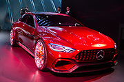 New York, NY - 12 April 2017. Mercedes-AMG GT Concept car, with a V8 gasoline engine and a high-performance electric motor producing a total of 805hp, and capable of going from 0-60 in under 3 seconds. The car has no rear view mirrors, but uses video cameras on tiny side wings for a rear view.