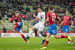 November 15, 2018 - Gdansk, Pomorze, Poland - Jakub Jankto (14) Robert Lewandowski (9) Filip Novak (22) during the international friendly soccer match between Poland and Czech Republic at Energa Stadium in Gdansk, Poland on 15 November 2018  (Credit Image: © Mateusz Wlodarczyk/NurPhoto via ZUMA Press)
