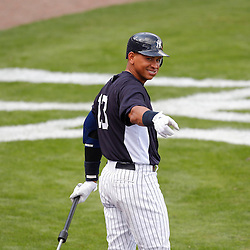 March 2, 2011; Tampa, FL, USA; New York Yankees third baseman Alex Rodriguez (13) during a spring training exhibition game against the Houston Astros at George M. Steinbrenner Field. Mandatory Credit: Derick E. Hingle-US PRESSWIRE
