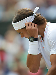 LONDON, ENGLAND - Sunday, July 4th, 2010: Rafael Nadal (ESP), wearing a Tourbillon watch RM 027, the lightest mechanical watch ever made (only weighing a mere 3.83 grams), during the Gentlemen's Singles Final match on day thirteen of the Wimbledon Lawn Tennis Championships at the All England Lawn Tennis and Croquet Club. (Pic by David Rawcliffe/Propaganda)