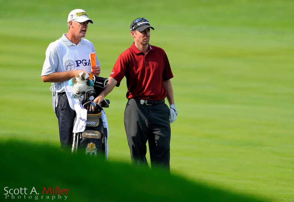 Aug 13, 2009; Chaska, MN, USA; Rod Pampling (AUS), right, with his caddie on the 7th hole during the first round of the 2009 PGA Championship at Hazeltine National Golf Club.  ©2009 Scott A. Miller