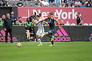 Cristian Espoinoza San Jose Earthquakes and Alexander Callens NYCFC goes for the ball during a MLS soccer game, Saturday, Sept. 14, 2019, in New York.NYCFC defeated San Jose Earthquakes 2-1.(Errol Anderson/Image of Sport)