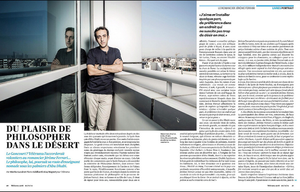 Author Jerome Ferrari for Telerama magazine