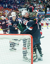 Matt Hendricks of USA and Jack Campbell of USA celebrate after winning during Ice Hockey match between Russia and USA at Day 4 in Group B of 2015 IIHF World Championship, on May 4, 2015 in CEZ Arena, Ostrava, Czech Republic. Photo by Vid Ponikvar / Sportida