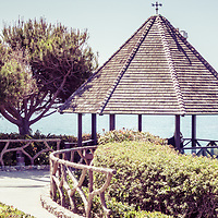 Laguna Beach California gazebo panorama picture. Laguna Beach is a beach community along the Pacific Ocean in Orange County Southern California.