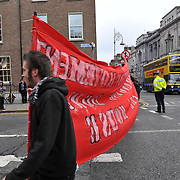 Work unions demonstration outside the Dail in Dublin during the presentation of 2010 Budget for Ireland