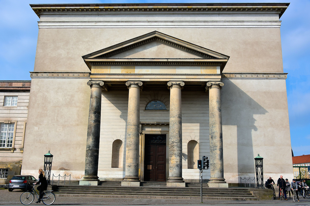Christiansborg Palace Chapel in Copenhagen, Denmark <br /> The first chapel for the Danish Royal Family was built in 1745. After being nearly destroyed by fire in 1794, it was restored into this neo-classical style and consecrated in 1826. It burned again in 1992 and inaugurated in 1997. For centuries, this church has been the venue for weddings, confirmations, baptisms and funerals for the monarchs and their family members.