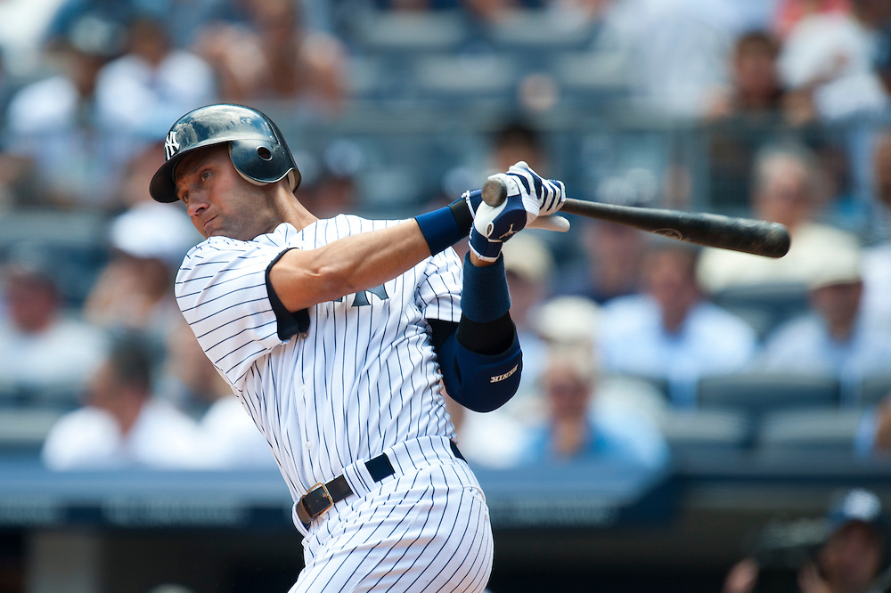 NEW YORK - JULY 27: Derek Jeter #2 of the New York Yankees bats during the game against the Seattle Mariners at Yankee Stadium on July 27, 2011 in the Bronx borough of Manhattan. (Photo by Rob Tringali) *** Local Caption *** Derek Jeter