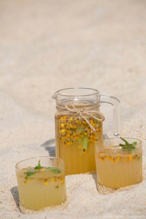 Fresh homemade lemonades served at Sea and Sky beach front restaurant located on Ban Tai beach, Koh Samui, Thailand