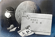 composite photo of sports student with soccer notbook Japan ca 1940s