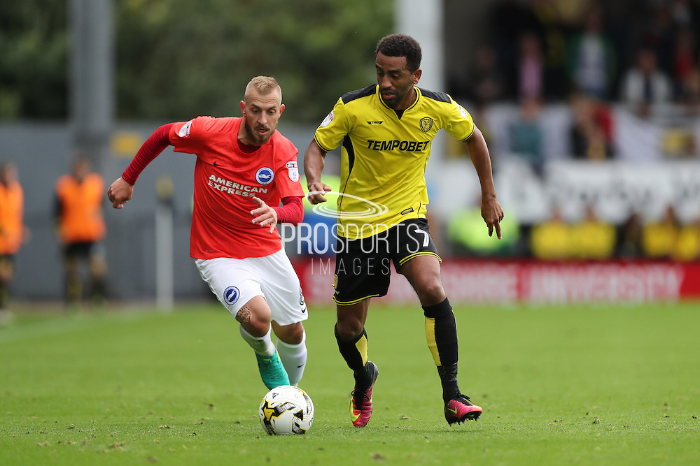 Burton Albion midfielder Lee Williamson (7) and Brighton & Hove Albion midfielder Jiri Skalak (8) during the EFL Sky Bet Championship match between Burton Albion and Brighton and Hove Albion at the Pirelli Stadium, Burton upon Trent, England on 17 September 2016.