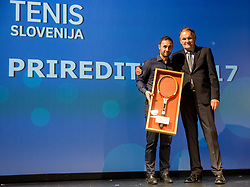 Aljaz Kos and Marko Umberger  during Slovenian Tennis personality of the year 2017 annual awards presented by Slovene Tennis Association Tenis Slovenija, on November 29, 2017 in Siti Teater, Ljubljana, Slovenia. Photo by Vid Ponikvar / Sportida