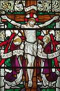 Stained glass window of Crucifixion, Saint Thomas church, Salisbury, Wiltshire, England, 1920, by James Powell and Sons