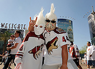 May 13, 2012; Glendale, AZ, USA; Phoenix Coyotes fans pose for a photo prior to the first period of game one of the Western Conference finals of the 2012 Stanley Cup Playoffs at Jobing.com Arena.  Mandatory Credit: Jennifer Stewart-US PRESSWIRE