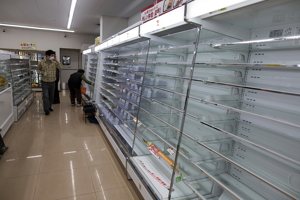 KUMAMOTO, JAPAN - APRIL 18: A empty rack of an convenient store in Minamiaso on April 18, 2016 Sunday morning. Residents living around the area are buying and stocking food in case of emergency happen.<br /> <br /> Photo: Richard Atrero de Guzman