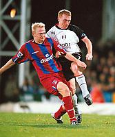 Fotball<br /> Premier League England 2004/2005<br /> Foto: Colorsport/Digitalsport<br /> NORWAY ONLY<br /> <br /> Crystal Palace v Fulham<br /> <br /> FA Barclays Premiership. 04/10/2004.<br /> <br /> Aki Riihilahti (Palace) Mark Pembridge (Fulham)