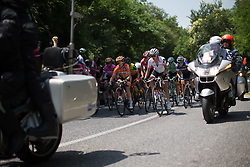 Karol-Ann Canuel (CAN) of Boels-Dolmans Cycling Team and Katarzyna Niewiadoma (POL) of Rabo-Liv Cycling Team lead the field to the top of the only climb of the Giro Rosa 2016 - Stage 3. A 120 km road race from Montagnana to Lendinara, Italy on July 4th 2016.