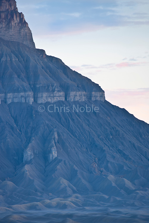 The ridges and gullies of Factory Butte in Southern Utah.