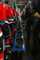 KELOWNA, CANADA - NOVEMBER 21:  The Kelowna Rockets stand for the national anthem against the Regina Pats on November 21, 2018 at Prospera Place in Kelowna, British Columbia, Canada.  (Photo by Marissa Baecker/Shoot the Breeze)