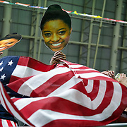 Paper faces of the United States gymnast Simone Biles were on display in the USA gymnastics family section during the women's team gymnastic finals at the 2016 Summer Olympics Games in Rio de Janeiro, Brazil. The United States won the gold medal.